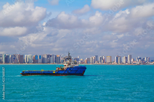Tuinposter Centraal-Amerika Landen Fortaleza, Brazil, city view from the sea. Fortaleza is located in the North-East of Brazil, on the Atlantic coast. Fortaleza is one of the tourist centers of Brazil.