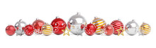 Red And Gold Christmas Baubles Isolated 3D Rendering