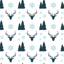 Christmas Seamless Pattern With Blue Deers, Houses, Fir Trees, Snowflakes And Stars On White Background. New Year Wallpaper.