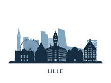 Lille Skyline, Monochrome Silh...