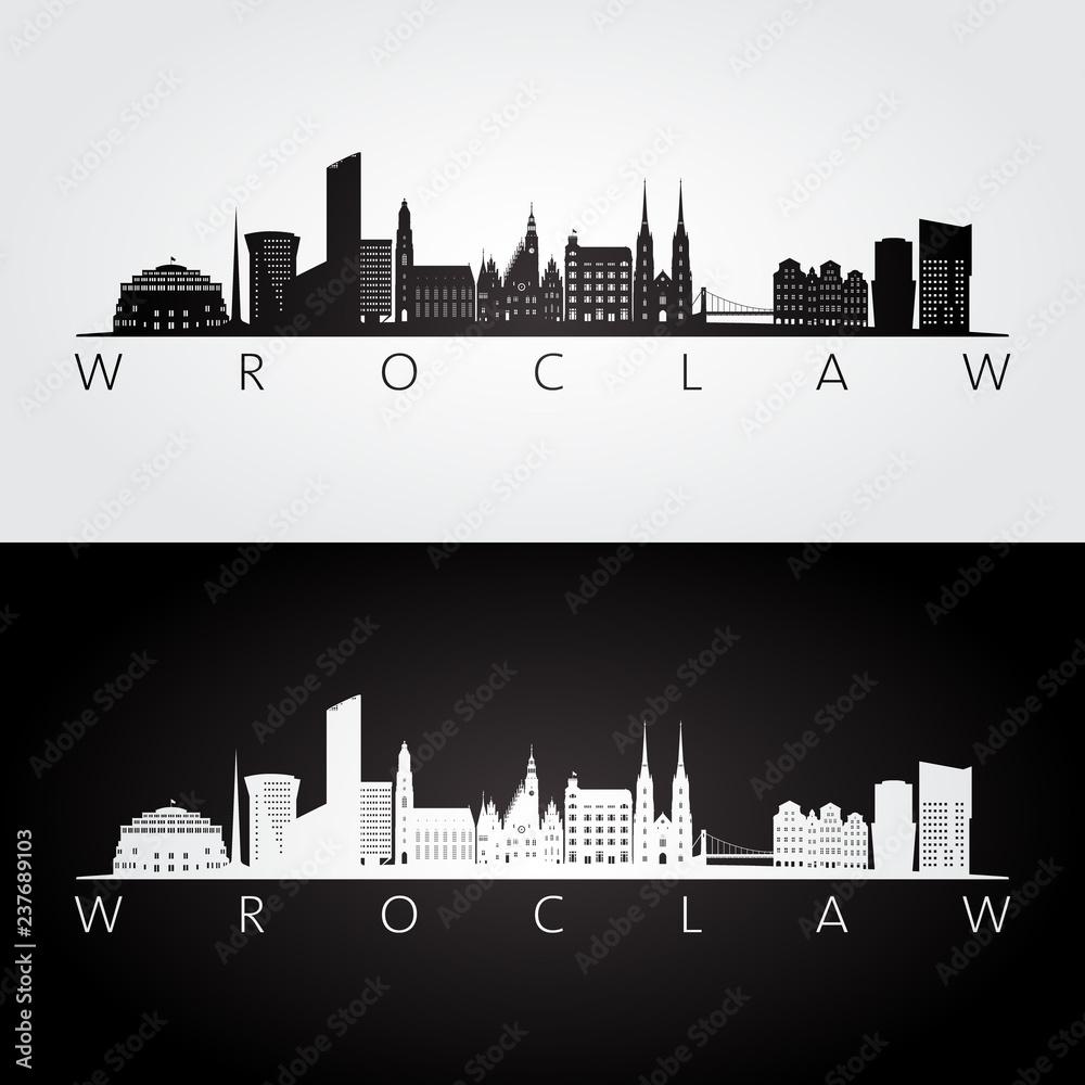 Wrocławska linia horyzontu i punkt zwrotny sylwetka, czarny i biały projekt, wektorowa ilustracja. <span>plik: #237689103   autor: greens87</span>