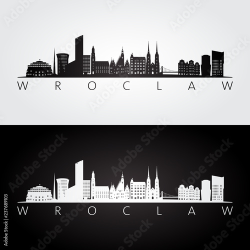 Wroclaw skyline and landmarks silhouette, black and white design, vector illustration Fototapeta