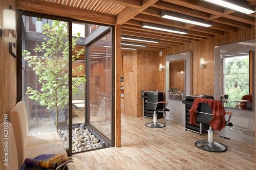 Hair Salon Designed in Wood