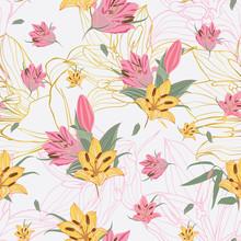 Vector Yellow & Pink Lilium Fl...