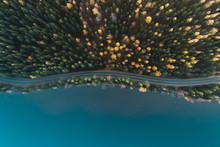Above View Of A Road By Lake And Autumn Forest, Finland