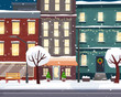 Christmas winter city street. Flat cartoon style