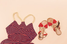 Hello Summer Concept, Beach Sandal And  Maxi Dress Isolated On Pink Background