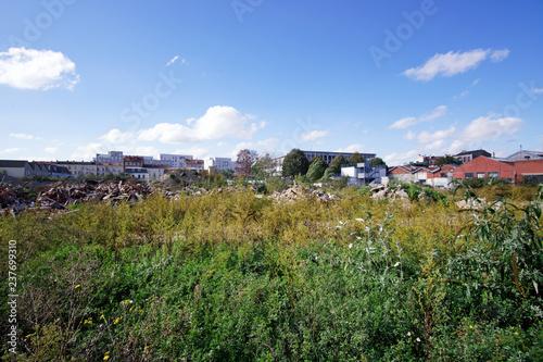 Photo  Grass in industrial wasteland , Paris suburb