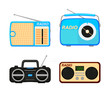 Colorful cartoon radio elements set