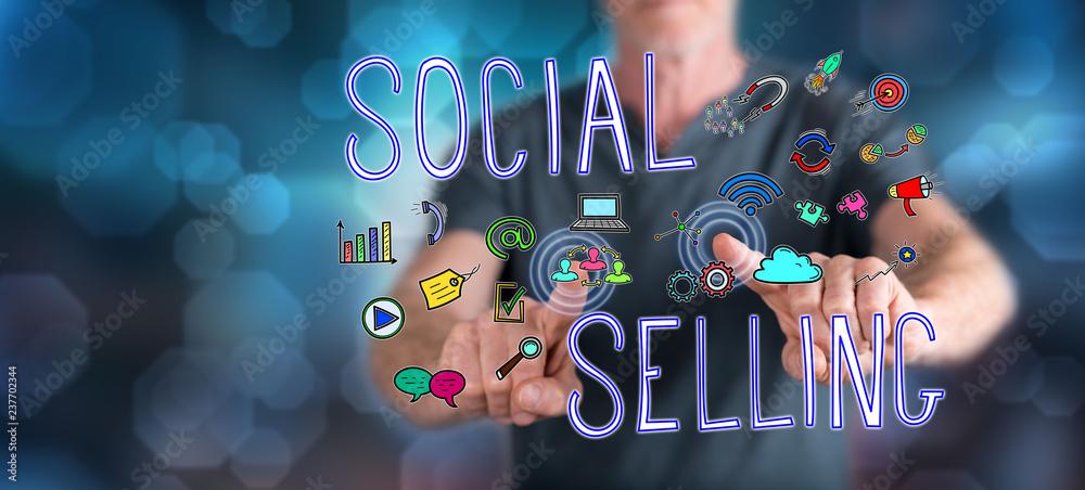 Fototapeta Man touching a social selling concept