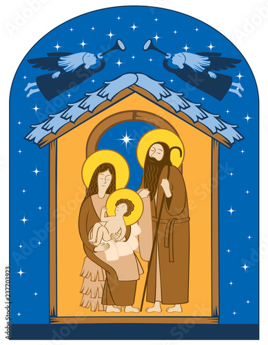 Fotografie, Obraz Vector illustration on the theme of Christmas and New Year in flat style