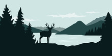 Elk By The River Green Forest Wildlife Nature Landscape Vector Illustration EPS10