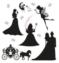 Set Of Illustrations Of Princesses And Fairies