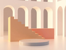 3d Abstract Minimal Background. Scene With An Empty Marble Platform, Coral Color Podium, Cream Stais And Arches In The Background. Trendy Mock Up. 3d Render