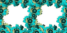 Vector Seamless Pattern Frame Hand Drawn Gradient Gilded Turquoise Flowers On White Background For Card, Cover Page, Web, Typographic Print, Banner, Menu, Poster, Carte, Affiche, Handbill, Sticer.