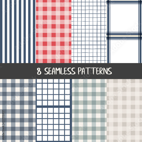 Fototapeta Set of checkered farmhouse style seamless patterns for kitchenware and homeware,