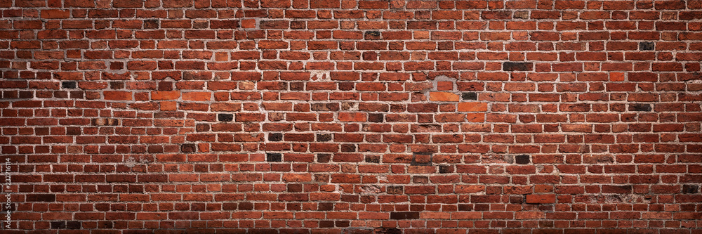 Fototapeta Panoramic view of empty, old, red brick wall background with copy space