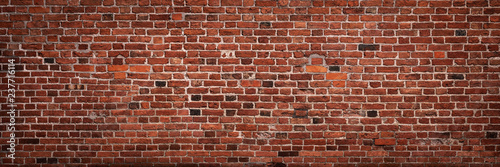 Spoed Fotobehang Baksteen muur Panoramic view of empty, old, red brick wall background with copy space