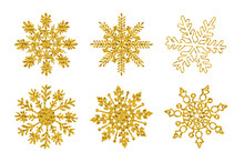 Set Six Gold Glitter Texture Snowflake Isolated On White Background. Vector Illustration.