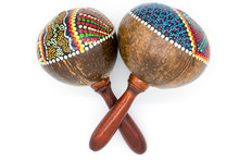 Variegated Multicolored Coconut Maracas Isolated On White Background