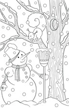 New Year And Christmas Theme. Black And White Graphic Doodle Hand Drawn Sketch For Adult Coloring Book. Winter Landscape With Pine, Snow, Snowmen And Squirrel.