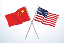 Flag Of China And USA, Vector