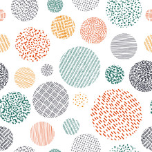 Cute Seamless Pattern In Doodle Style. Print For Textiles Drawn By Hand. Vector Illustration.