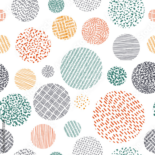 plakat Cute seamless pattern in doodle style. Print for textiles drawn by hand. Vector illustration.