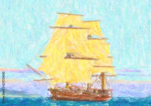 Dessin Aux Crayons De Couleur Bateau A Voiles Buy This Stock Illustration And Explore Similar Illustrations At Adobe Stock Adobe Stock