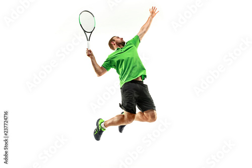 Fotografia The one caucasian man playing tennis isolated on white background