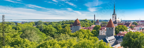 Tallinn in Estonia, panorama of the medieval city with Saint-Nicolas church, colorful houses and typical towers