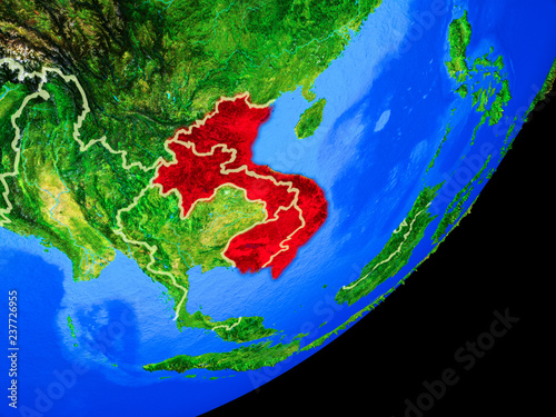 Foto  Indochina on planet Earth with country borders and highly detailed planet surface