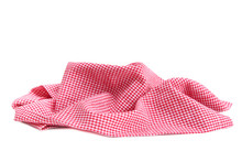 Red Checked Picnic Cloth Crumpled Isolated.