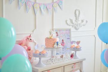 One year birthday decorations. Children birthday.