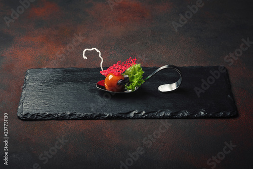Molecular modern cuisine galantine duck in spoons on stone and rusty background