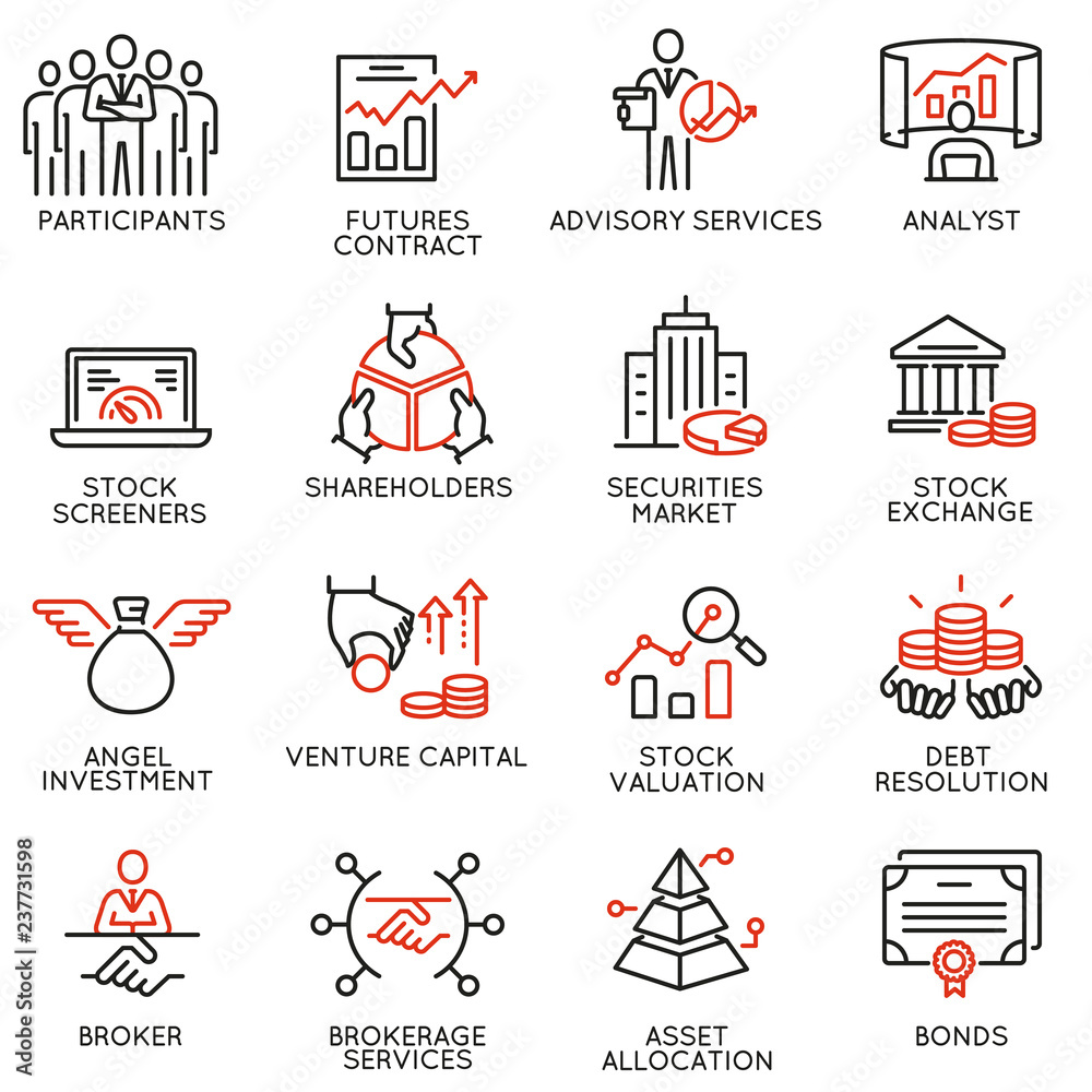 Fototapety, obrazy: Vector set of linear icons related to trade service, investment strategy and management. Mono line pictograms and infographics design elements - part 2