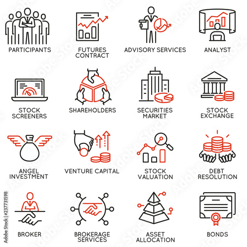 Fényképezés  Vector set of linear icons related to trade service, investment strategy and management