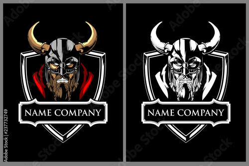 Fotografie, Obraz  angry viking warrior character vector badge or crest logo template