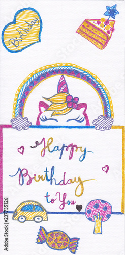 Birthday Greeting Cards For Kids Hand Drawing With Glitter Pens