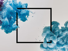 Blue Splashes Of Paint With Sq...
