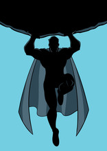 Front View Full Length Illustration Of Powerful And Brave Superhero Silhouette Holding Huge Boulder Above His Head During Dangerous Mission.