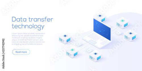 Stampa su Tela Data transfer via server isometric vector illustration