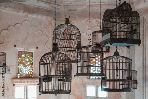 Old  Indian birdcages Wallpaper Mural