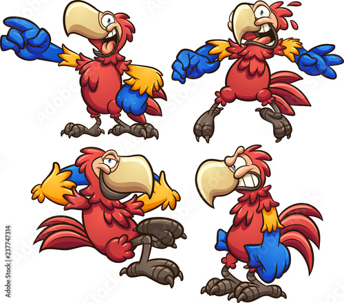 Cartoon red macaw in different poses Tablou Canvas