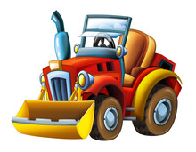 Cartoon Farm Tractor Excavator - On White Background - Illustration For The Children