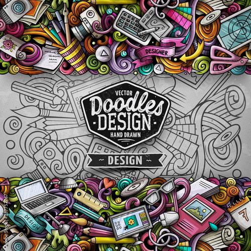 Obraz Cartoon vector doodles Design horizontal stripe card. Artistic funny border. - fototapety do salonu