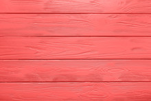 Wood Plank Texture Or Background Of Painted Table In Living Coral Color Of The Year 2019.