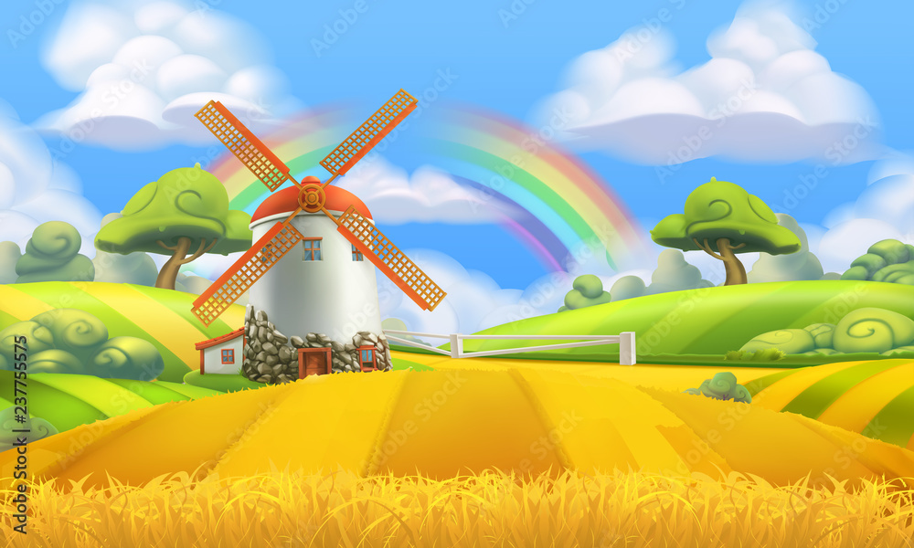 Fototapeta Nature landscape. Farm and mill. 3d vector background