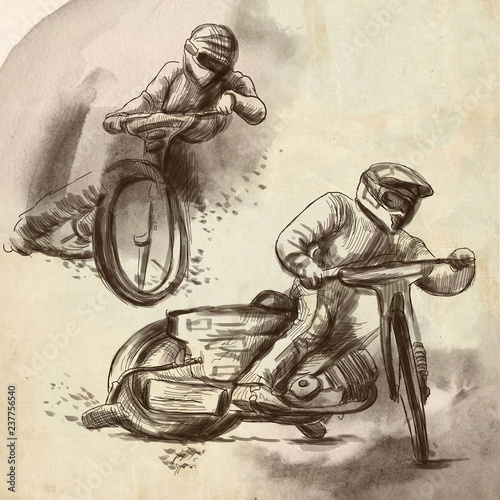Fotomural Speedway, motorcycle races - An hand drawn illustration