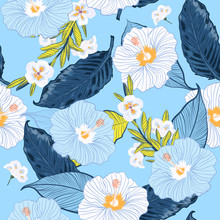 Blooming Seamless Vector Floral Pattern,Sky Blue And Fresh Summer Background With Tropical Flowers, Palm Leaves, Jungle Leaf, Hibiscus,
